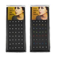 Caja de 40 Acero Quirúrgico Plata piercings para nariz 1 mm Cristal Gema Barra Cuerpo Regalo Navidad Reino Unido