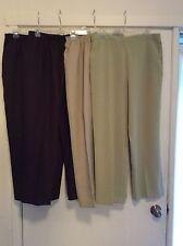 Alfred Dunner Classics Womans Dress Pants Elastic Waist Poly S 14 Short 3 COLORS