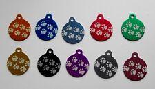 """Médaille grand chien """"patte"""" gravée  - 10 couleurs"""