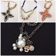 Fashion Jewellery Woman Choker Long Designer Necklace - Teddy Pearl Leather JG28