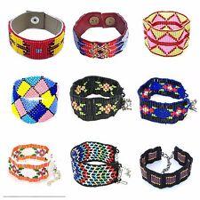 Handmade Glass Beaded Native style inspired Soft Cuff Bracelet