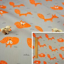 ORANGE GREY Fat Quarter/Meter/FQ Cotton Sewing Craft Fabric Fox Animal Children