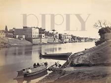 PLAQUE ALU DECO REPRO PHOTO LE CAIRE BORD DU NIL BATEAUX PECHEURS 1857