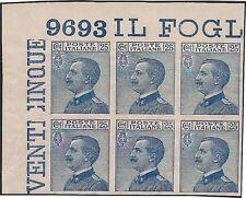 REGNO 1908 - 25 c. MICHETTI BLOCCO n. 83e VARIETA' + NUMERO DI TAVOLA