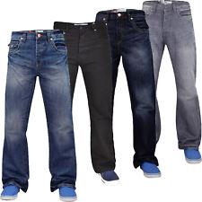Mens Jeans Bootcut APT Wide Leg Plain Denim Pants Flap Pockets Trouser All Sizes