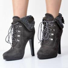 Women Winter Ankle Boots Lace-up 12 CM High Heels Platform Punk Biker Warm Shoes