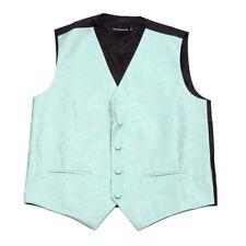 Men's Aqua Paisley Tuxedo Vest Formals Weddings Proms Fashion Waistcoat