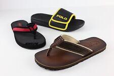 NWT Polo Ralph Lauren Men's Pony Flip Flops Sandals Slipper Shoes Leather