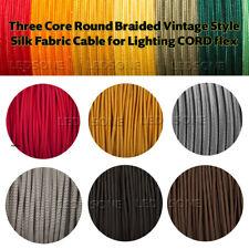 Núcleo de tres redondo trenzado Cable de tela de seda estilo vintage para la iluminación Cable Flex