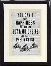 DIZIONARIO ART PRINT Moto Biker preventivo non può acquistare la felicità comprare una bici Regalo