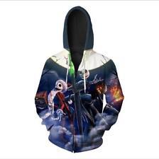 Fleece Zipper pocket hoodies Nightmare before Christmas printed hat hoodie S-6XL