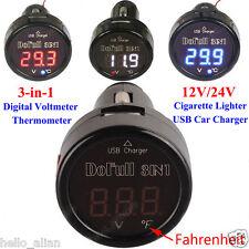 Car Cigarette USB Port Charger Adapter Digital LED Display Voltmeter Thermometer
