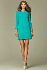 Robe courte droite Dos-V Verte mode femme NIFE S28 manches 3/4