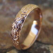 Hawaiian Pink Gold Plated Scroll Flower Jewelry Wedding Ring Band 4mm SR1139