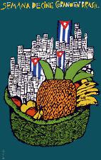 POSTER.Stylish Graphics.Cine cubano en Brasil.City & fruit Deco Art.1430