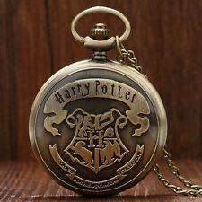 Antique Style Harry Potter Hermione Hogwarts School Logo Pocket Watch Necklace