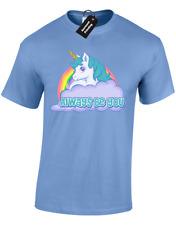 Siempre se le Hombre Camiseta la inteligencia Divertido Rock Unicornio central (Color)