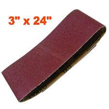"3"" x 24"" Sanding Belts Aluminium Oxide 40/80/120 Grits Sander Abrasive 3x24 75mm"