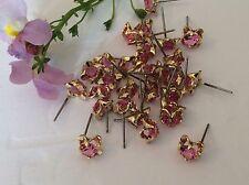 Vintage boucles d'oreilles goldtone fleur rose strass lot de 20 bijoux revente