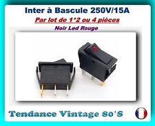 *** LOT DE 1*2 OU 4 INTERS A BASCULE ON/OFF 250V/15A NOIR AVEC LED ROUGE ***