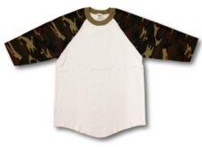 New Shaka Baseball Plain Shirt Raglan 3/4 Sleeve Camo Camouflage with White