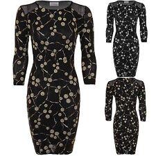 Ladies 3/4 Sleeve Lurex Glitter Swirl Mesh Insert Stretch Women's Bodycon Dress