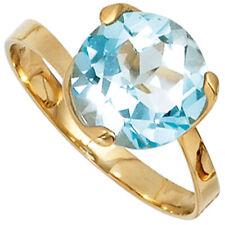Damen Ring 585 Gold Gelbgold 1 Blautopas hellblau blau Goldring günstig Gr.50-60