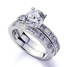 8mm Platinum Plated Silver 2ct CZ Baguette Wedding Engagement Bridal Set Ring