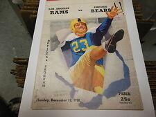 1950 NFL FOOTBALL PROGRAM CHICAGO BEARS vs LOS ANGELES RAMS LA MEMORIAL COLISEUM