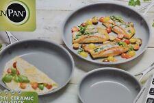 """NEW Greenpan 3 piece Fypan Set Ceramic Non Stick Pan Thermolon HEALTHY 8 10 12"""""""