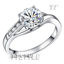 TTstyle 18K White Gold Plated Fashion Wedding Ring Choose Size