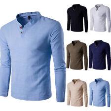 Mens Long Sleeve V-Neck T-Shirts Cotton Linen Hippie Shirt Beach Yoga Top Autumn