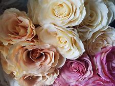 BEAUTIFUL BUNCH OF 9 LARGE SILK ETERNITY ROSES WEDDING FLOWER BOUQUET CRAFT