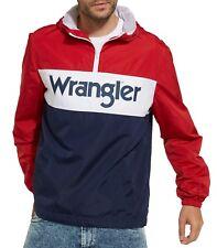 WRANGLER 80s Retro Mens Overhead Jacket Lightweight Hooded Anorak Pull Over Red