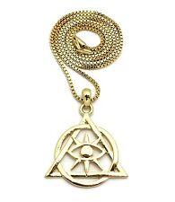 "Men's Gold PT illuminati Pyramid Pendant w/ 24"" Box, Cuban, Rope Chain Necklace"