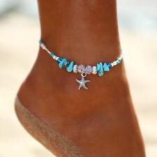 Ladies Anklet Starfish Turquoise Beads Sandal Ankle Bracelet Bangle Jewelry RU