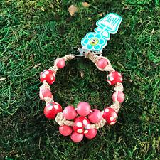 Marijuana Cannabis Floral Roach Clip Bracelet Hoti Hemp Handmade Pink Red Flower