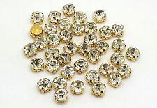 100 X Transparente Cristales En Oro Carcasa cose en cristales de vidrio, Piedras, Gemas,3555