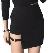Women Summer Cotton Sexy Mini Pencil Skirt High Waisted Hollow Out Asymmetric
