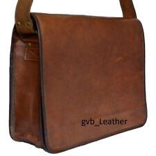 """18"""" Laptop Bag Men's Genuine Natural Grain Leather Messenger Shoulder Briefcase"""