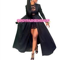 Women Elegant Long Sleeve 2PC Set Ball Gown Party Club Black Lace Long Dress