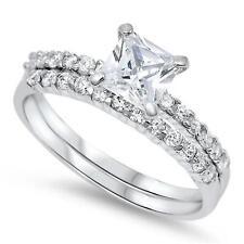 2 PIECE RING SET ~ Bridal Set ~ Genuine STERLING SILVER RING ~ Size 11 12 / W Y
