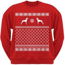 Doberman Pinscher Red Adult Ugly Christmas Sweater Crew Neck Sweatshirt