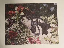 "Joelle Smith Rabbits Print ""VISITORS IN THE GARDEN"" LE # 62 of 300 (NO COA)"