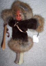 Genuine Handmade Eskimo Doll Fur Leather Dress 1955
