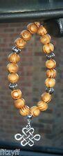 Voiture en bois perles en bois & noeud chinois pendentif charme chanceux cadeau souvenir de la chine