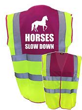 HORSES SLOW DOWN PINK YELLOW HI VIS SAFETY VEST WAISTCOAT JACKET EQUESTRIAN