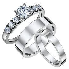 Titan Verlobungsringe & His & Hers Flach Court Hochzeit Ring Bands 4&6mm