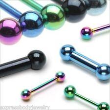 16g 14g 12g Rainbow Anodized Titanium Tongue Barbell Nipple Tragus Ear Ring