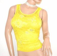 Débardeur maillot jaune femme top dentelle brodée emmanchure strass t-shirt E160